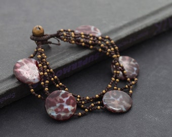 Animal Print Seashell Layered Bracelet