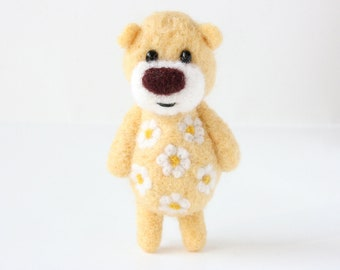 Cream yellow pocket bear with daisies and a brown nose 55