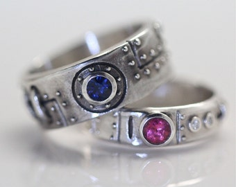 Steampunk wedding ring set sterling silver diamond blue sapphire and pink tourmaline settings made in NYC