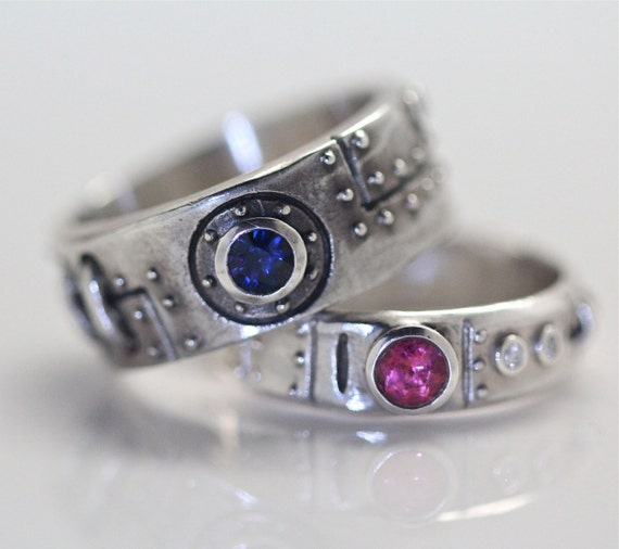 steampunk diamond sapphire tourmaline wedding set - Steampunk Wedding Rings