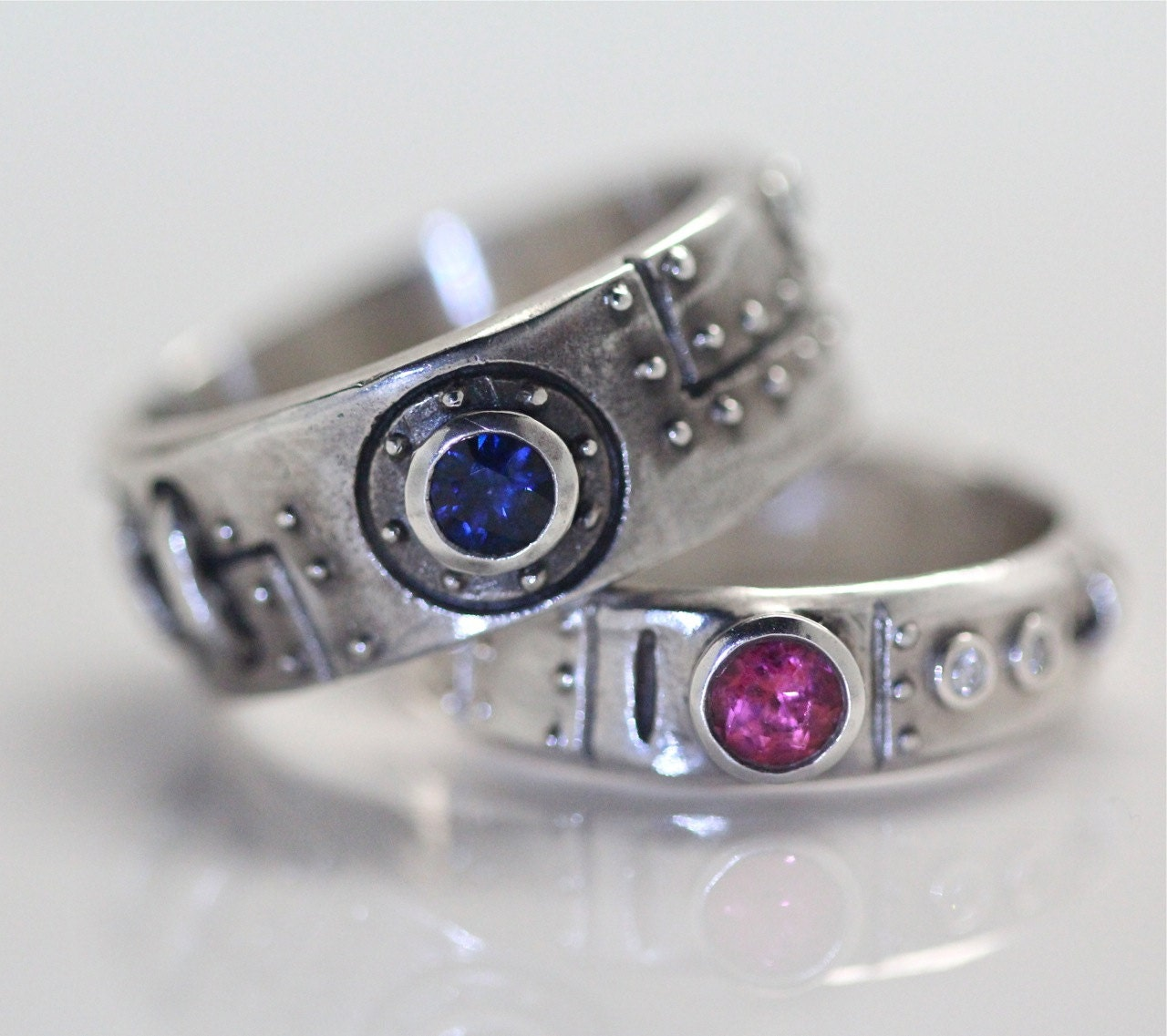 Steampunk wedding ring set sterling silver diamond blue