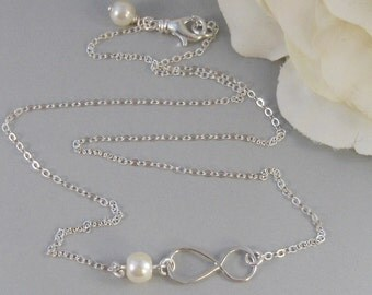 Infinity,Necklace,Sterling Silver,Infinity,Silver Necklace,Infinite Necklace,Pearl,Wedding,Bridesmaid. Jewelry by valleygirldesigns.