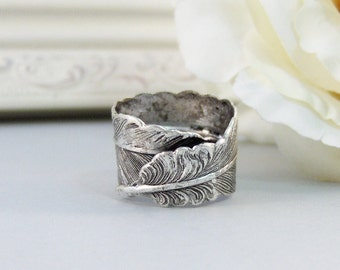 Silver Feather,Feather Ring,Silver Ring,Spoon Ring,Feather Jewerly,Antique Ring,Ring,Angel Wing Ring,Wing Ring,Silver valleygirldesigns.