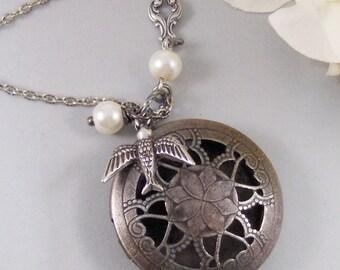 Nightengale,Locket,Silver Locket,Bird,Sparrow,Pearl,Woodland,Scent,Perfume,Antique Locket,Steampunk. Handmade jewelry by valleygirldesigns.