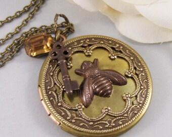 Life of Bees,Locket,Brass Locket,Bee,Topaz,Rhinestone,Antique Locket,Vintage Rhinestone,Jewelry. Handmade jewelry by valleygirldesigns.