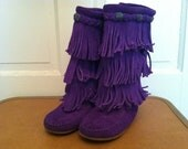 Girls Purple Minnetonka Three Tiered Fringe Moccasin Boots