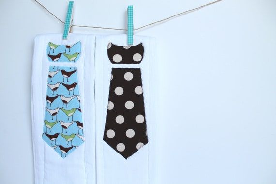 Baby Burp Cloths with Necktie in Birds and Dots, Set of 2 Baby Boy Burp Cloths in Chirp Birds and Chocolate Brown Polka Dots