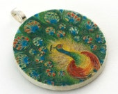 Pendant, Vintage Peacock, Handmade Decoupaged, FREE SHIPPINGFree Shipping, Retropage, Stocking Stuffer, Unique Gift, Handmade Necklace