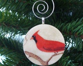 CYBER SALE Ornament, Cardinal, Handmade Decoupaged, FREE Shipping