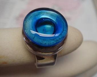 vintage 1980's Greek Island designer  hand made glass in 925 sterling sliver rings