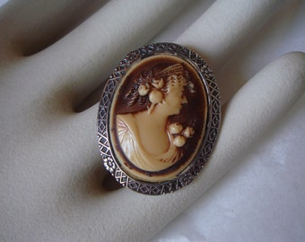 Antique Victorian sterling silver and carved  shell vintage  cameo brooch