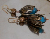 Stamped Brass and Turquoise Blue Flower Bud Earrings