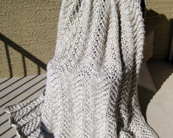 Aran Waves Knitted Blanket