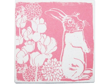Pink Bunny Framed cloth print, 9x9 inch, Bark cloth silk screened