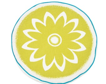 yellow round cushion, round, 17 inch, Sunflower, Reversible, Hand Printed on Cotton Bark Cloth