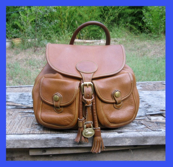 Vintage British Tan AWL Dooney and Bourke Backpack / Knapsack