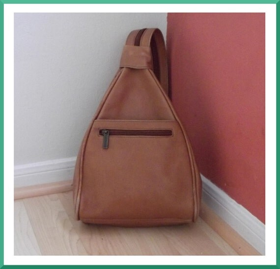 Vintage Light Brown Leather Backpack made in Columbia