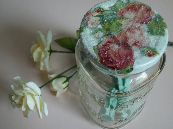 Shabby Chic Decoupaged Upcycled Atlas Mason Jar Ivory White with Set of Three Aqua Glittered Clothespins One of a Kind - Treasury Item
