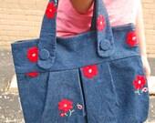 Red Daisy on Denim Handbag