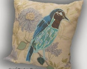 Pillow Cushion Cover Applique Bird in the Garden England Hand Made Blue Teal