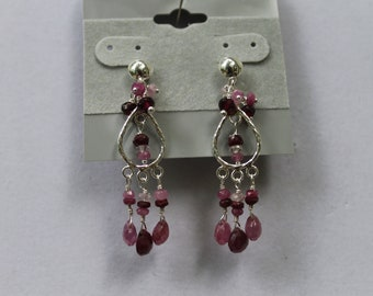Faceted Ruby Drops Sterling Silver Earrings