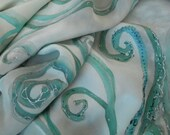 Queen of Snow silk scarf, hand painted art silk scarf in shades of white, mint, pale teal and silver.