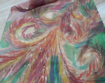 Feathers hand painted art silk scarf. Multicolored silk scarf in green, red, yellow, pink, white, silver and gold