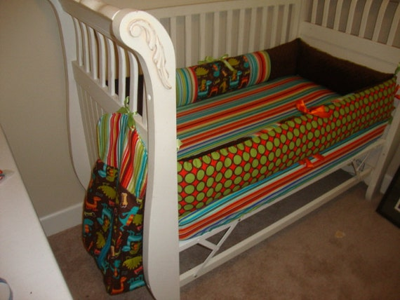 Dino Dudes Custom Little Boys Crib Bedding