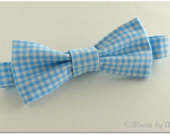 Preppy bow tie collection. Blue and white gingham print,  0-10 yrs. size available