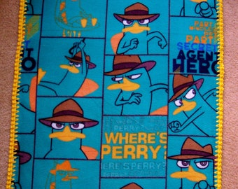 PERRY the PLATYPUS AGENT P Baby Blanket, Phineas and Ferb Fleece & Hand Crochet Trim, Cute Toddler Blanket