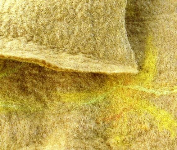 Handmade wet felted fabric.