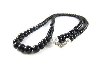 Spiritual Black Onyx Necklace with Silver Beads