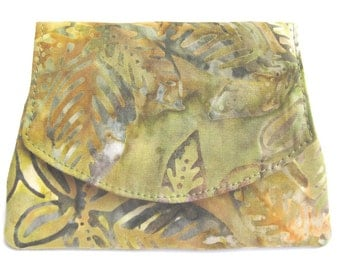 Tropical Leaves on Green and Gold Small Batik Wallet