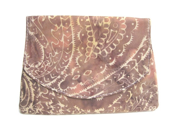 LAST ONE - Beige on Brown Swirl Batik Wallet