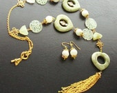 Pale Green Jade Heart Necklace Set with Double Happiness Coins-Madame Wong-Pale Green, Peridot on Gold
