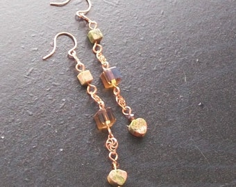 Unakite Heart gemstone dangle earrings-Peachy Green-Grassy Green, Peachy Salmon on Copper CLEARANCE
