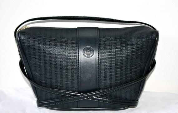 Vintage FENDI Clutch Black Stripe Leather Convertible Crossbody Bag -AUTHENTIC-