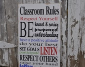 Classroom Rules-Typography Wood Sign - noelinteriors