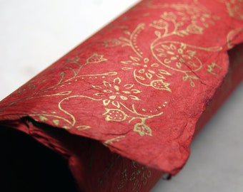 Handmade Wrapping Paper Holiday Gift wrap 3 sheets Red with Gold flower print