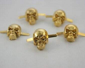 5 pcs.Zinc Gold Skull Head Rivet Studs Decoration Findings 11x15 mm. DHSSKG1115