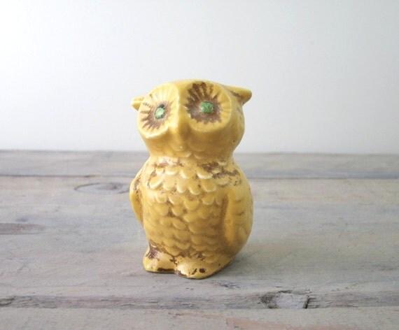 Yellow Owl Figurine