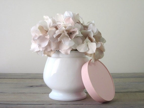Milk Glass Footed Jar with Pink Lid