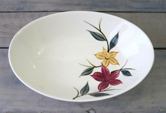 Hand Painted Serving Bowl with Flowers
