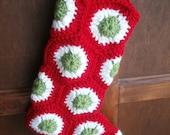 Crochet Polka Dot Christmas stocking