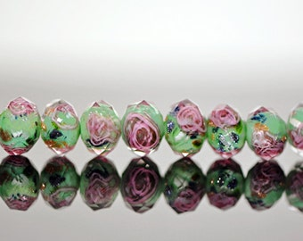 Lampwork Flower Glass Beads Faceted Rondelle Green 6x8mm  -(LL01-1) / 58Pcs