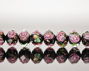 Lampwork Flower Glass Beads Faceted Rondelle Black 6x8mm  -(LL01-3) / 58Pcs