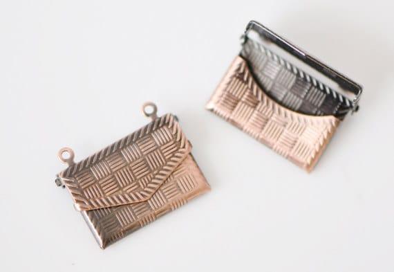SALE! Brass Envelope Charms Pendants Antique Copper  (#10526)/ 8pcs