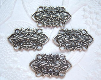 4 - Antique silver plated filigree connectors- BT170