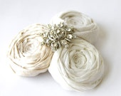 Rosette Couture Elegance Bride Hair Clip Luxurious Silk Ivory Cream Vintage Rhinestones Hair Clip Bridal Wedding Regency Ready to Ship