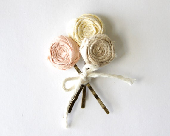 FALL SALE Rosette Bobby Pin Set Bouquet Send Flowers set of three roses bouquet gift, favor, birthday Pink Cream Yellow